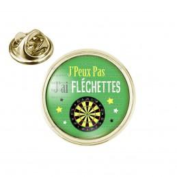 Pin's rond 2cm doré J'Peux Pas J'ai FLECHETTES Cible
