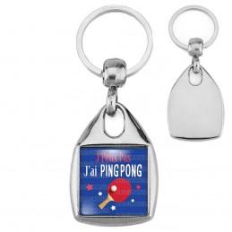 Porte-Clés Carré Acier J'Peux Pas J'ai PING PONG