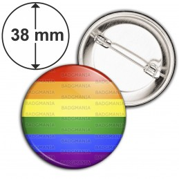 Badge 38mm Epingle Rainbow LGBT Gay Pride Diversity Peace Drapeau Arc en Ciel