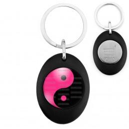 Porte-Clés Noir Ovale Jeton Caddie Yin Yang Rose Fuschia Noir Harmonie Equilibre Feng Shui Paix Peace