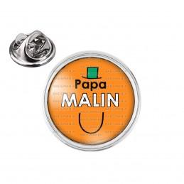 Pin's rond 2cm argenté Papa Malin - Fond orange