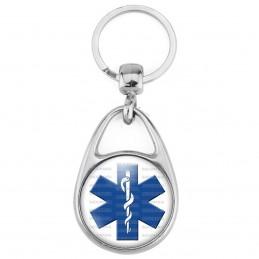 Porte Clés Métal 2 Faces Logo 3cm Croix de Vie Caducée Santé