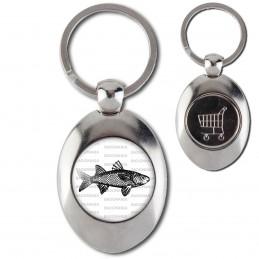 Porte-Clés Acier Ovale Jeton Caddie Poisson - Animal Symbole Marin
