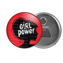 Décapsuleur 6cm Aimant Magnet Girl Power - Silhouette Femme Feminist - Fond Rouge