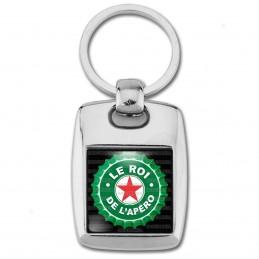 Porte Clés Rectangle Acier 2 Faces Le Roi de l'Apéro - Capsule bière Verte Etoile Rouge