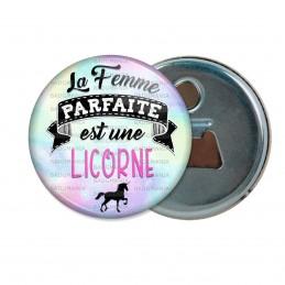 Décapsuleur 6cm Aimant Magnet La Femme Parfaite est une LICORNE - Licorne noire