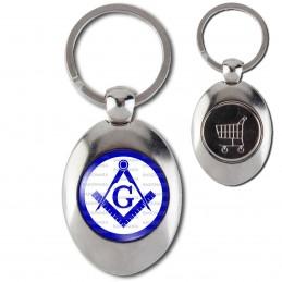 Porte-Clés Acier Ovale Jeton Caddie Compas Equerre Francs-Maçons Symbole Maçonnique Bleu