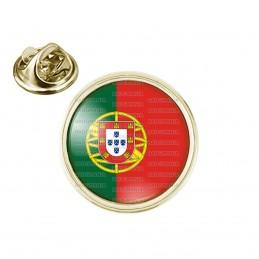 Pin's rond 2cm doré Drapeau Portugal Portuguais Portuguese Flag Embleme