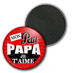 Magnet Aimant Frigo 3.8cm Mon Petit Papa Je T'Aime - Fond rouge