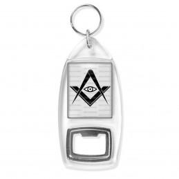 Porte Clés Décapsuleur Compas Equerre Francs-Maçons Symbole Maçonnique Noir fond blanc