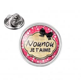 Pin's rond 2cm argenté Nounou je t'aime - Fond rose bulles