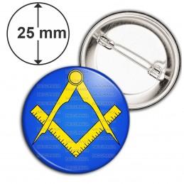Badge 25mm Epingle Compas Equerre Francs-Maçons Symbole Maçonnique Jaune Fond Bleu