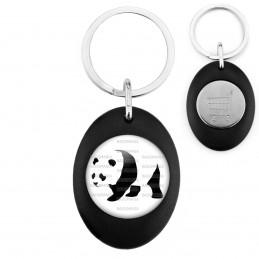 Porte-Clés Noir Ovale Jeton Caddie Panda Géant Ursidés Animal Chine Noir et Blanc