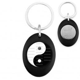 Porte-Clés Noir Ovale Jeton Caddie Yin Yang Blanc Noir Harmonie Equilibre Feng Shui Paix Peace