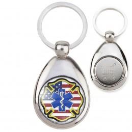 Porte-Clés Acier Goutte Jeton Caddie Croix de Vie Ambulancier Drapeau USA