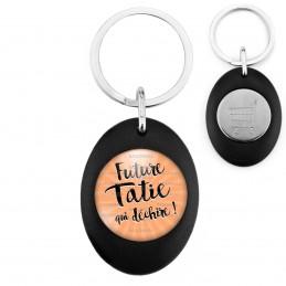 Porte-Clés Noir Ovale Jeton Caddie Future Tatie qui Déchire - Fond orange