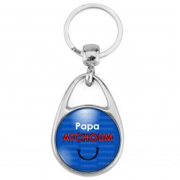 Porte Clés Métal 2 Faces Logo 3cm Papa Atchoum - Fond bleu