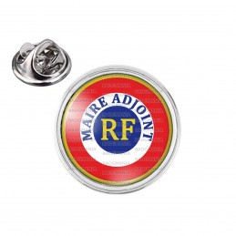 Pin's rond 2cm argenté Cocarde Bleu Blanc Rouge RF Maire Adjoint Bleu Position Haut