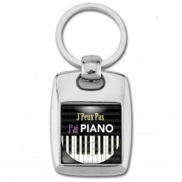 Porte Clés Rectangle Acier 2 Faces J'Peux Pas J'ai Piano - Clavier Instrument Musique