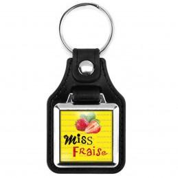Porte-Clés Carré Cuir Vegan Miss Fraise - Fruit fraises sur fond jaune