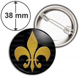 Badge 38mm Epingle Fleur de Lys Royale Roi de France Royauté - Ocre sur Fond Noir