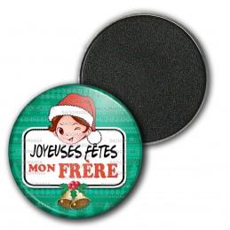 Magnet Aimant Frigo 3.8cm Joyeuses Fêtes MON FRERE Noël Gui Cloches