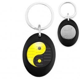 Porte-Clés Noir Ovale Jeton Caddie Yin Yang Jaune Gris Foncé Harmonie Equilibre Feng Shui Paix Peace