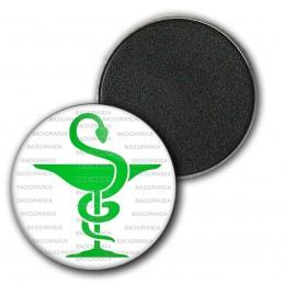 Magnet Aimant Frigo 3.8cm Caducée Esculape Pharmacie Vert