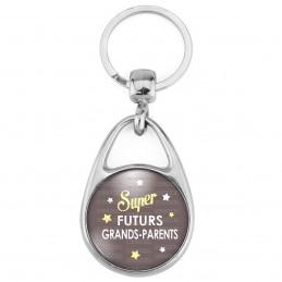 Porte Clés Métal 2 Faces Logo 3cm Super Futurs GRANDS PARENTS - Etoiles Fond Marron - Annonce Grossesse Naissance