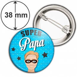 Badge 38mm Epingle Super Papa - Homme Cheveux Roux Masqué