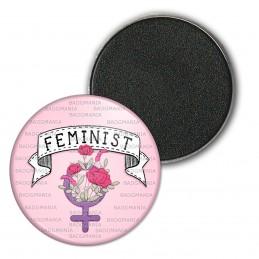 Magnet Aimant Frigo 3.8cm Feminist - Girl Power - Fleurs Fond Rose