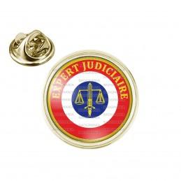 Pin's rond 2cm doré Cocarde Expert Judiciaire Bleu Blanc Rouge Texte Jaune