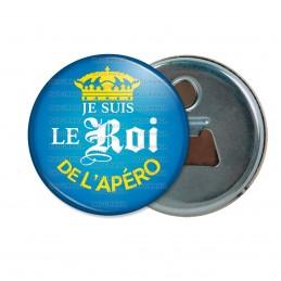 Décapsuleur 6cm Aimant Magnet Je suis le Roi de l'Apéro - Capsule bière Bleu Mexicaine Couronne