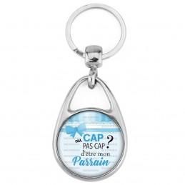 Porte Clés Métal 2 Faces Logo 3cm Cap ou pas Cap d'être mon Parrain - Fond bleu nOEud - Annonce Naissance