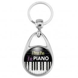 Porte Clés Métal 2 Faces Logo 3cm J'Peux Pas J'ai Piano - Clavier Instrument Musique
