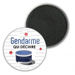 Magnet Aimant Frigo 3.8cm Gendarme qui déchire - Couvre Chef Fond Blanc