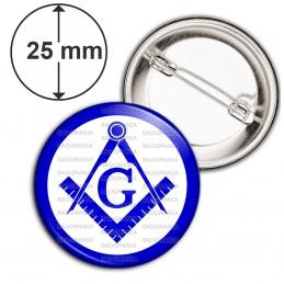 Badge 25mm Epingle Compas Equerre Francs-Maçons Symbole Maçonnique Bleu