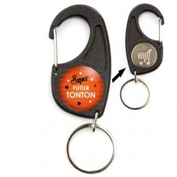 Porte-Clés Mousqueton Jeton Caddie Super Futur TONTON - Etoiles Fond Orange