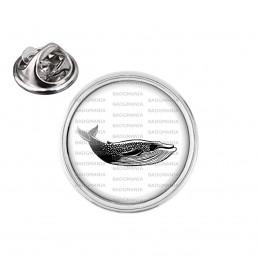 Pin's rond 2cm argenté Baleine - Animal Symbole Marin