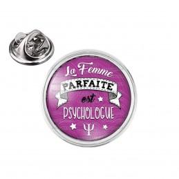 Pin's rond 2cm argenté La Femme Parfaite est PSYCHOLOGUE - fond violet