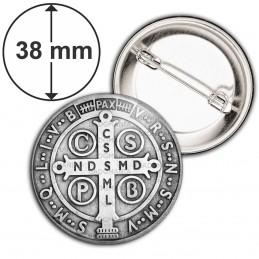 Badge 38mm Epingle Medaille Croix de Saint Benoit Exorcisme Benediction