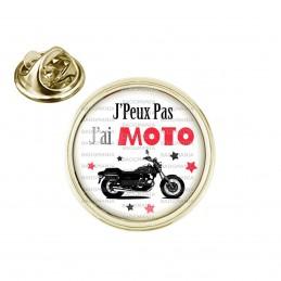 Pin's rond 2cm doré J'Peux Pas J'ai Moto - Motard