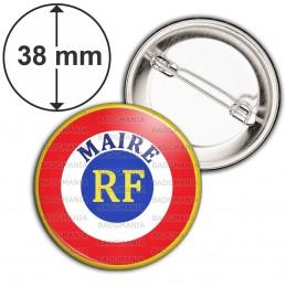 Badge 38mm Epingle Cocarde Bleu Blanc Rouge RF Maire Ecriture position haute