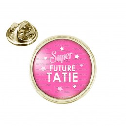 Pin's rond 2cm doré Super Future TATIE - Etoiles Fond Rose