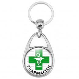 Porte Clés Métal 2 Faces Logo 3cm Caducée Esculape Croix Verte Pharmacie Pharmacien