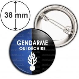 Badge 38mm Epingle Gendarme qui déchire - Fond Bleu Noir