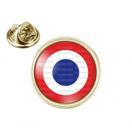Pin's rond 2cm doré Cocarde France Tricolore Bleu Blanc Rouge