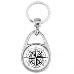 Porte Clés Métal 2 Faces Logo 3cm Compas Boussole 3 - Symbole Marin