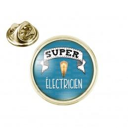 Pin's rond 2cm doré Super ELECTRICIEN