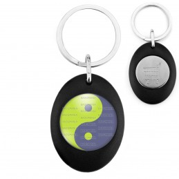 Porte-Clés Noir Ovale Jeton Caddie Yin Yang Vert Anis Gris Harmonie Equilibre Feng Shui Paix Peace
